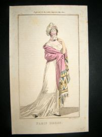 Lady's Magazine 1802 H/Col Regency Fashion Print. Paris Dress 15